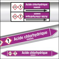 Marqueurs de tuyauterie CLP Acide chlorhydrique