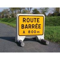 Panneau Mistral Route barrée avec disque de distance