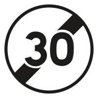 Panneau Alu Fin de limitation de vitesse 30km/h
