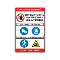 Panneau PVC consignes de sécurité entrepôt