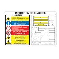 Panneau PVC Indication de charges pour rayonnage