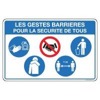 Panneau gestes barrières pour la sécurité de tous