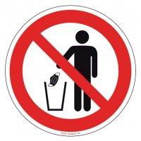 Panneau Interdit de jeter son masque dans la poubelle