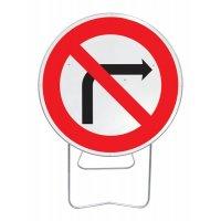 Panneau avec pied solidaire Interdit de tourner droite