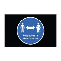 Tapis respect distanciation sociale en paysage