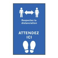 Tapis de distanciation sociale respect distanc./attendez