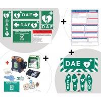 Kit complet défibrillateur, marquage au sol et panneaux