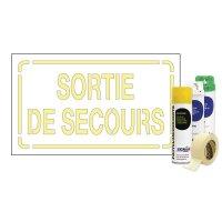 Kit Sol ou mur Pochoir texte Sortie de Secours