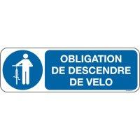 Panneau Picto et texte obligation de descendre de vélo