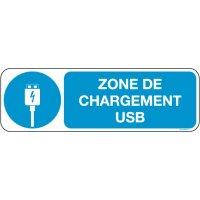 Panneaux zone charge USB Picto et texte