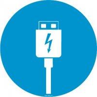 Autocollant vitrophanie zone chargement USB