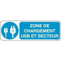 Panneaux zone charge USB et Secteur Picto et texte