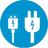 Autocollant vitrophanie zone chargement USB et secteur