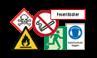 Sicherheitskennzeichnung und Rettungszeichen