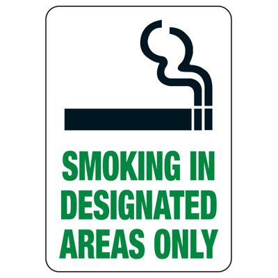 Designated Smoking Area Signs & Smoking Permitted Signs