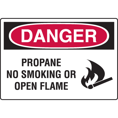 Harsh Condition Safety Signs - Propane No Smoking Or Open Flame
