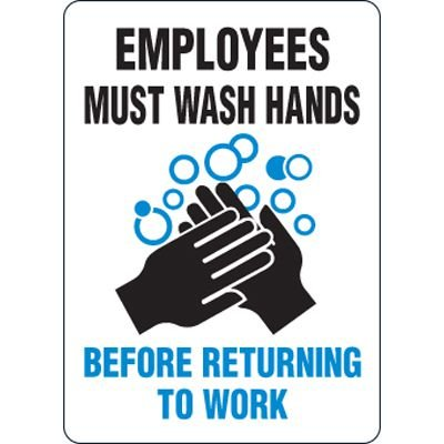 Eco-Friendly Sign - Employees Must Wash Hands Before Returning to Work