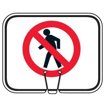 Traffic Cone Signs - Do Not Walk Symbol