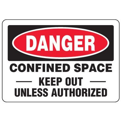 Eco-Friendly Signs - Danger Confined Space Keep Out Unless Authorized