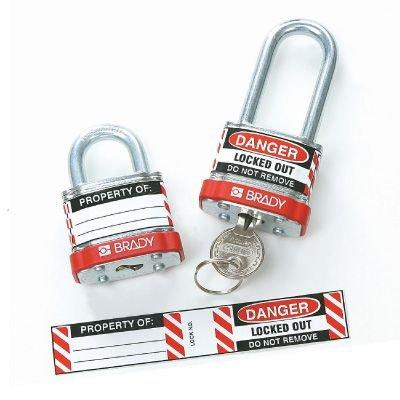 Brady Steel Padlock Vinyl Labels - Danger Locked Out Do Not Remove (50280) - 6PK