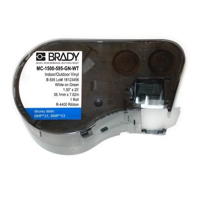 Brady MC-1500-595-GN-WT BMP51/53 Label Cartridge - White on Green