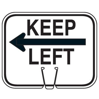 Traffic Cone Signs - Keep Left with Arrow Graphic