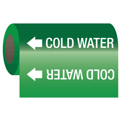 Self-Adhesive Pipe Markers-On-A-Roll - Cold Water