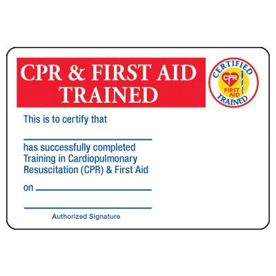 CPR & First Aid Trained Certification Card - Wallet Size