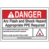 NEC Arc Flash Labels On-A-Roll - Arc Flash And Shock Hazard Appropriate PPE Required w/ Graphic