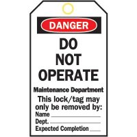 Heavy Duty Lockout Tags - Do Not Operate Maintenace