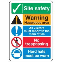 ANSI Multi-Message Safety Signs - Site Safety Warning Hazardous Area