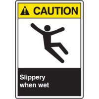 ANSI Safety Signs - Caution Slippery When Wet