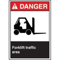 ANSI Safety Signs - Danger Forklift Traffic Area