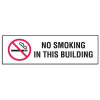 "Mini No Smoking Signs - 3""W x 10""H No Smoking In This Building"