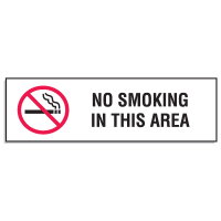 "Mini No Smoking Signs - 3""W x 10""H No Smoking In This Area"