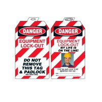 Padlock Tags with Self-Laminating Photo - Danger Equipment Lock-Out