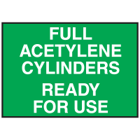 Cylinder Status Signs - Full Acetylene Cylinders Ready For Use