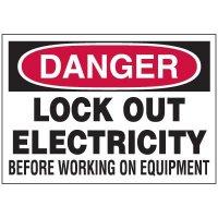 Lockout Hazard Warning Labels - Danger Lock Out Electricity