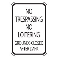 Parking Lot Safety & Security Signs - No Trespassing Loitering