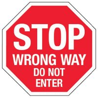 Reflective Stop Wrong Way Do Not Enter Signs