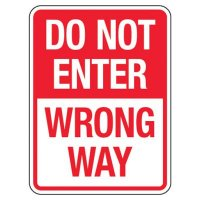 Reflective Traffic Reminder Signs - Do Not Enter Wrong Way