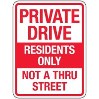Reflective Parking Lot Signs - Private Drive Residents Only