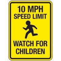 Reflective Pedestrian Signs - 10 MPH Speed Limit