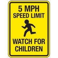 Reflective Pedestrian Signs - 5 MPH Speed Limit