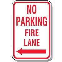 Fire Lane Signs - No Parking Fire Lane (Left Arrow)