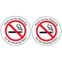 Double-Sided No Smoking Window Signs - Thank You For Observing