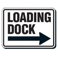 Reflective Parking Lot Signs - Loading Dock (Right Arrow)