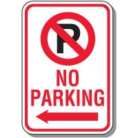 No Parking Signs - No Parking (With Symbol & Left Arrow)