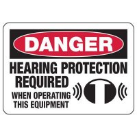 Danger Hearing Protection Required - Ear Protection Sign