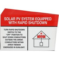 White/Red Rapid Shutdown Solar Warning Labels